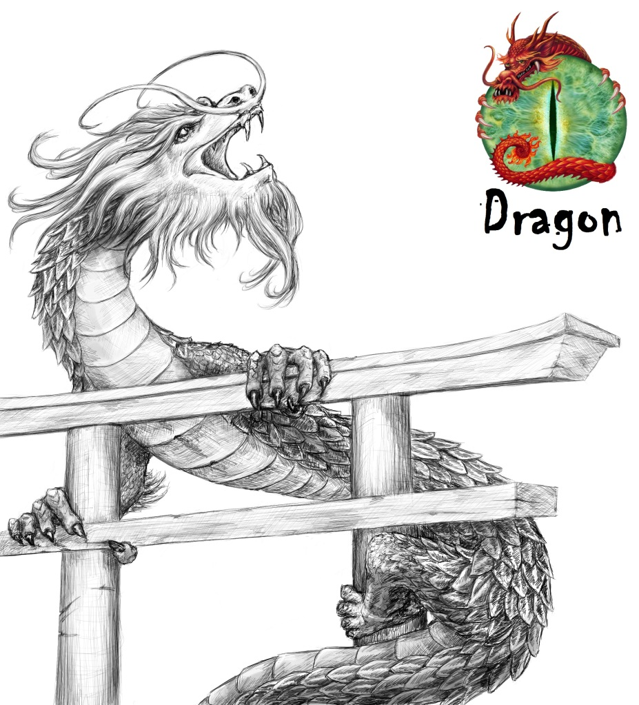 An alternate concept sketch of the dragon.