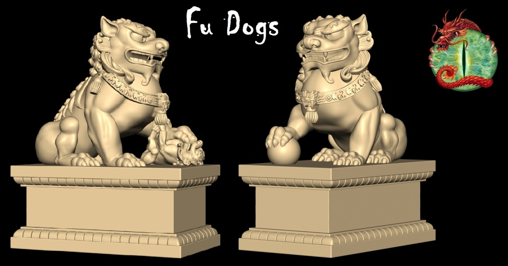 Fu Dog Statues with logo